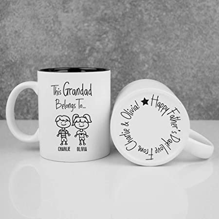Ebuygb This Grandad Belongs To Mug Personalised Ceramic White Black Reveal 350ml Coffee Cup Father S Day Gift Family Members Grandchildrens Kids Names Birthday Christmas Gift Idea Amazon Co Uk Kitchen Home