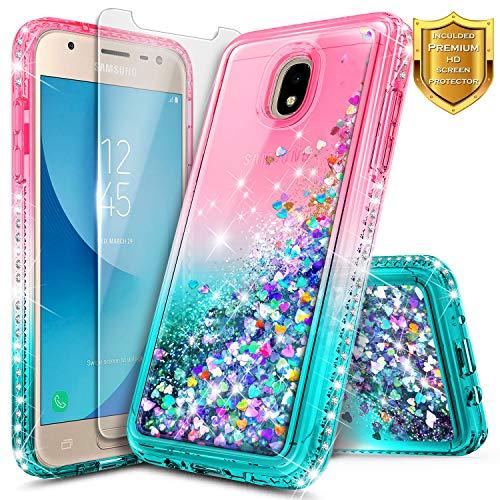 Galaxy J7 2018 Case, J7 Refine/J7 Crown/J7 Star/J7 TOP J7 V 2nd Gen/J7 Aura/J7 Aero with Screen Protector for Girls Kids Women, NageBee Glitter Liquid Sparkle Floating Waterfall Cute Case -Pink/Aqua