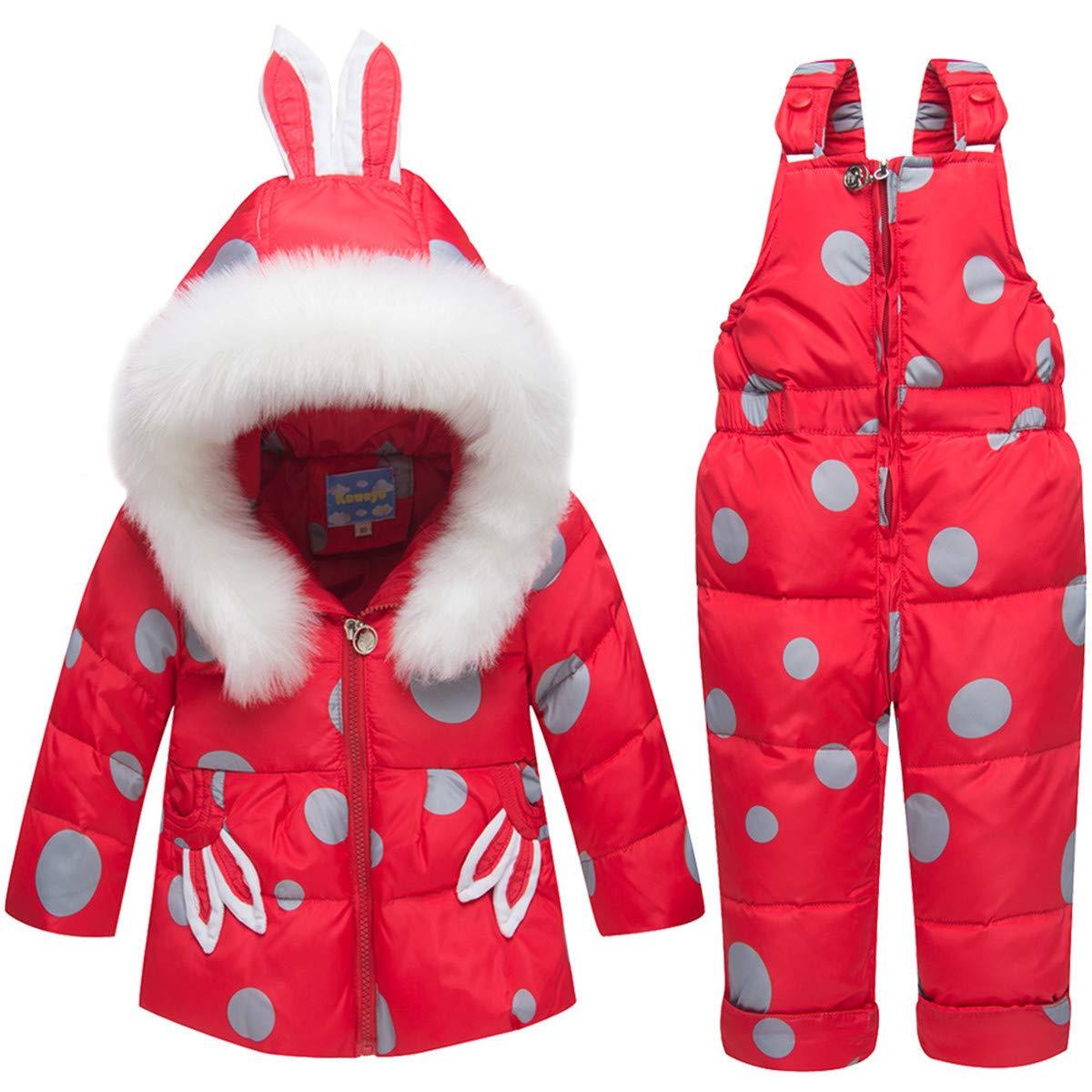 REWANGOING Baby Kids Girls Boys Winter Warm Fur Trim Zipper Soild Hooded Puffer Down Jacket Snowsuit with Ski Bib Pants Set