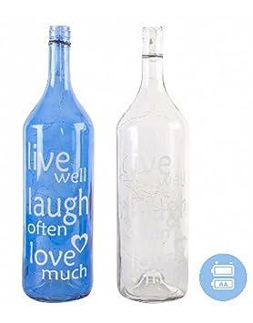 Home Line Lámpara 40 Leds con Forma de Botella de Cristal, Modelo Frase - Blanco