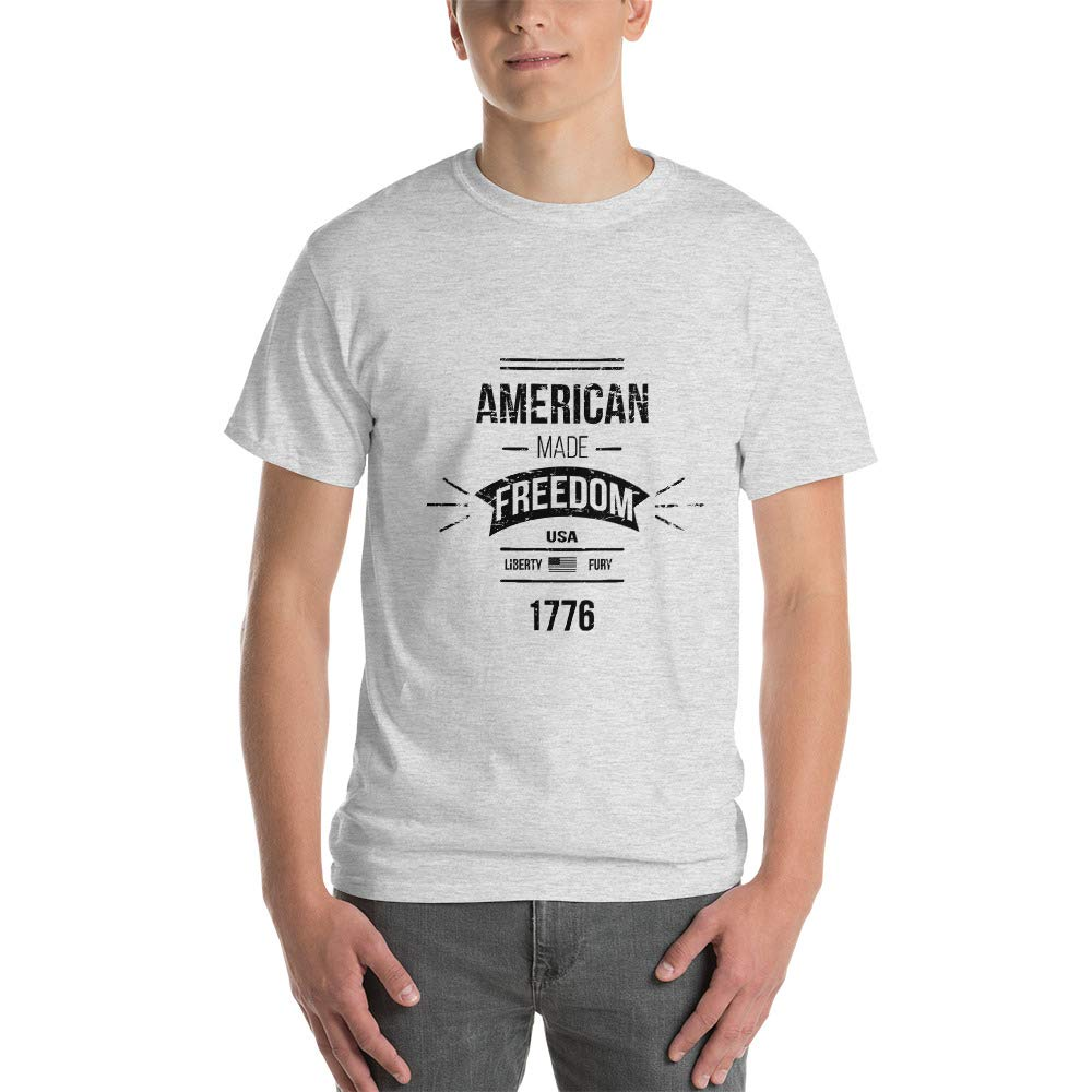 American Made Freedom USA Liberty Fury 1776 Mens Ultra 100/% Cotton Short-Sleeve T-Shirt 2000