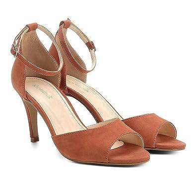 4ea3a4a1b5 Sandália Couro Shoestock Salto Fino Naked Tornozeleira Feminina - Caramelo  - 34