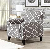Great Bay Home Modern Velvet Plush Strapless Slipcover. Form Fit Stretch, Stylish Furniture Shield/Protector. Magnolia Collection Strapless Slipcover Brand. (Chair, Grey)