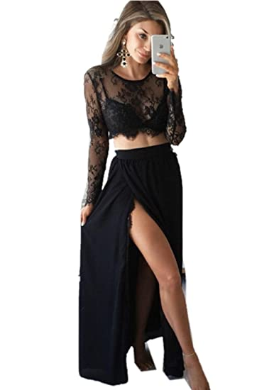 Promworld Womens Black Evening Party Long Sleeve Lace Two Piece Prom Dress Black US2