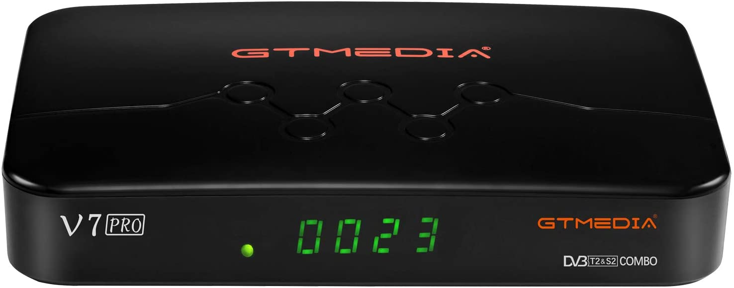 GT MEDIA V7 PRO Free to air FTA Digital Satellite Receiver with USB WiFi Antenna, DVB-S/S2/S2X Galaxy 19 Full HD 1080p H.265 HEVC 10bit, CA Card Slot, Support YouTube CCcam Biss auto-roll