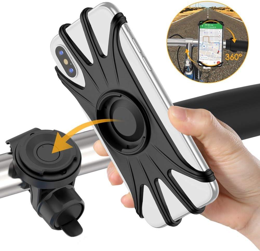 VUP Soporte Movil Bici, Universal 360 Grados & Desmontable Manillar Porta Móvil Moto 4.7 o 6.5 Pulgada Teléfonos Compatible con iPhone 8 Plus X XS MAX XR Samsung S9+ S10+