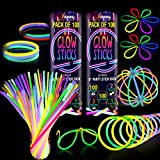 200 Premium Glow Sticks Bulk Ultra Bright Glow Party Pack 8 inch with Connectors Glow in The Dark Party Supplies Emergency Light Sticks Neon Glow Bracelets Necklaces for Kids -Camping Accessories