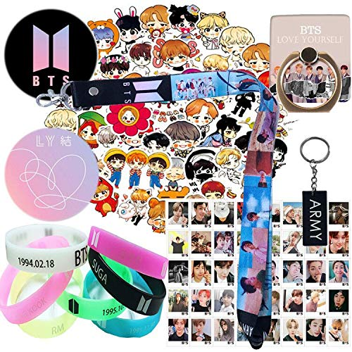 - BTS Gift Set for ARMY - 1 Pack BTS Lanyard Keychain, 7 Pack BTS Silicone Bracelet, 1 Pack Phone Ring Stand, 1 Pack ARMY Keychain,40 Pack Lomo Card, 63 Pcs Laptop Stickers, 2 Pack Button Pin