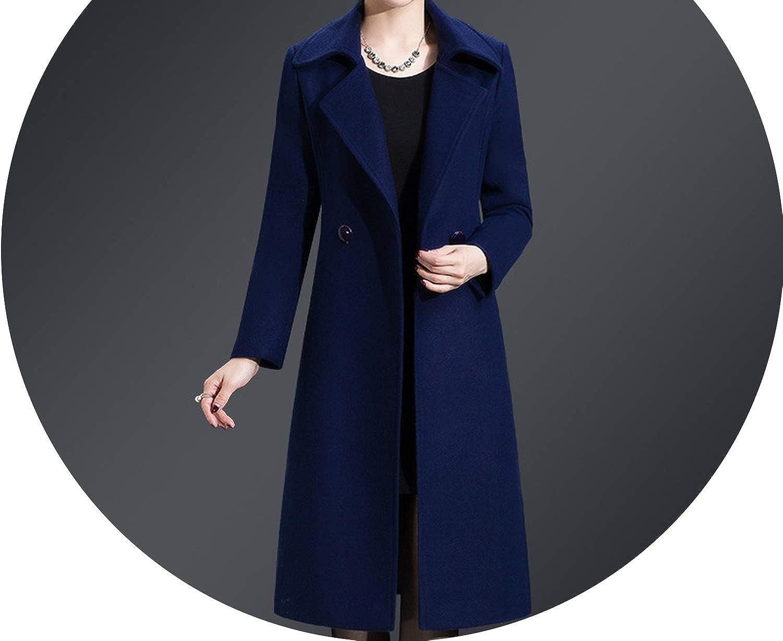 bluee Casual Women Cashmer Coat WideWaisted Women's Woolen Jacket Long Coat and Jacket