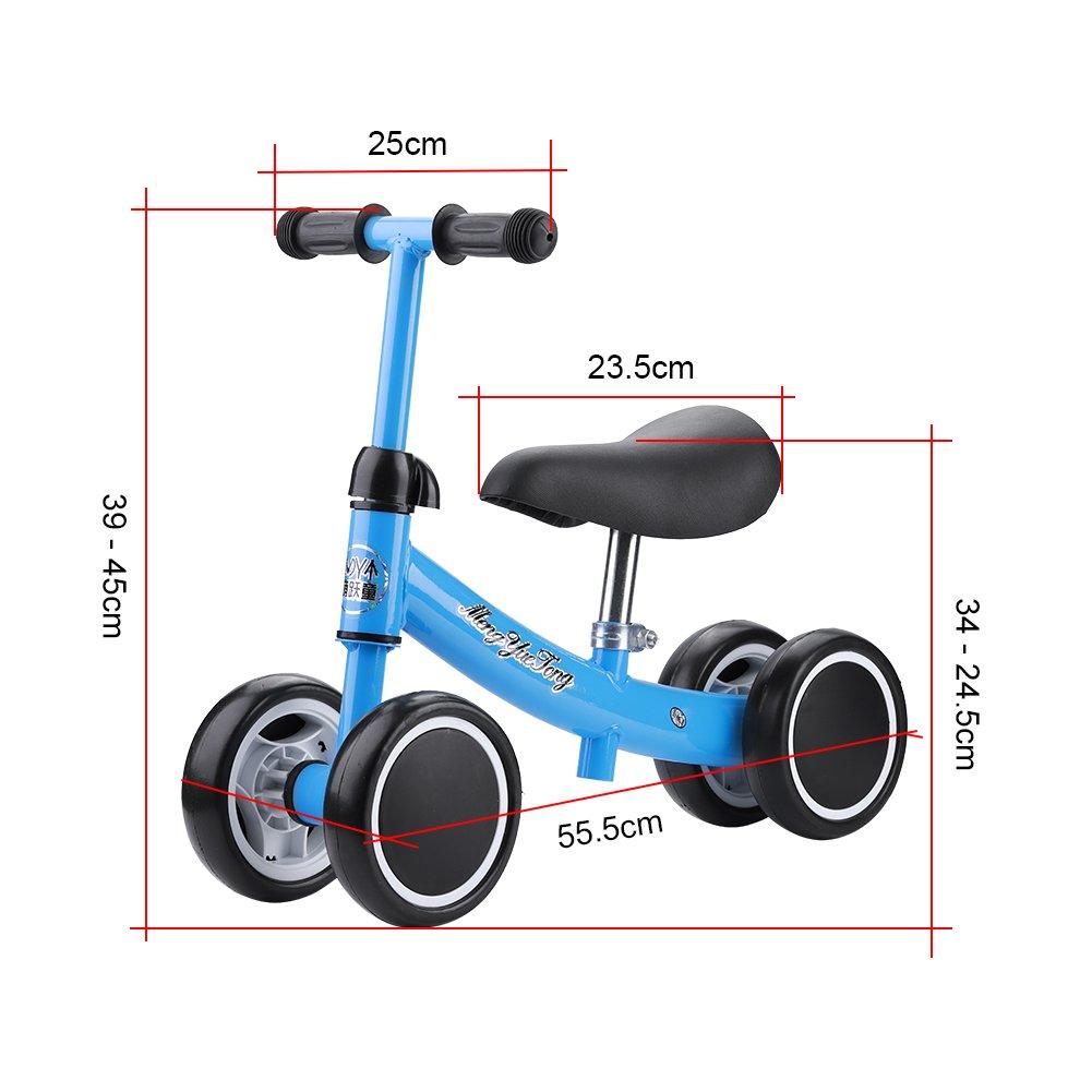 Zerone Entrenamiento del Equilibrio Mini Bicicleta de Bebé sin Pedales , para Niño 1-2 Años Andador de Cuatro Ruedas (Azul)