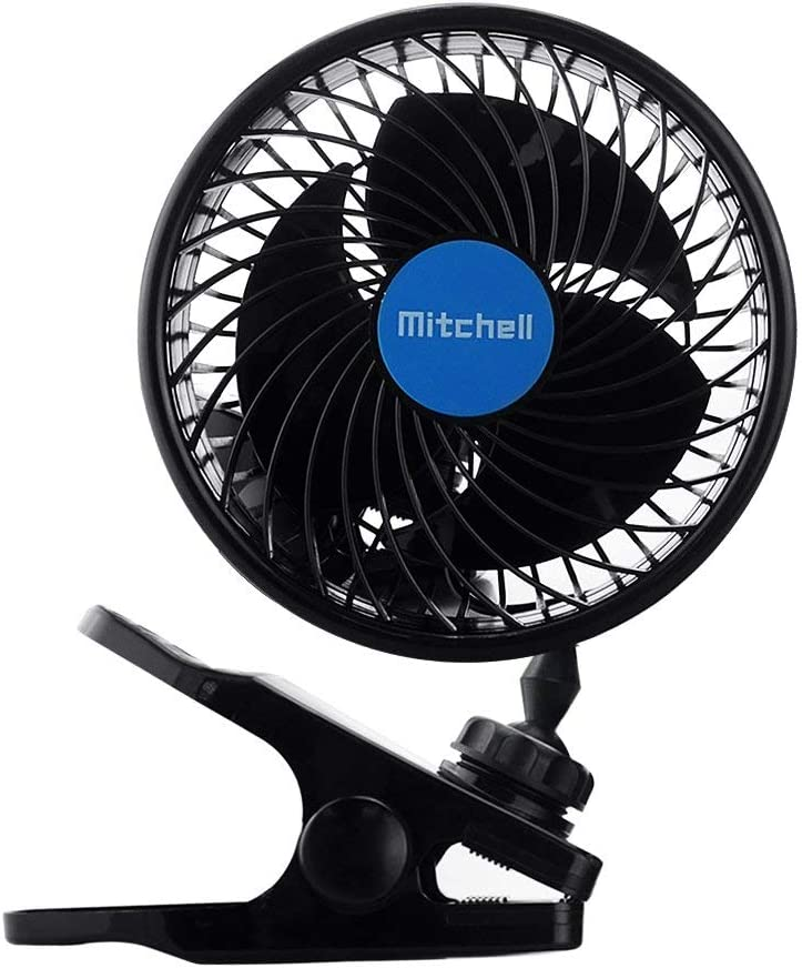 Welltop 12V 6 inch Car Cooling Fan Automobile Vehicle Clip Car Fan Powerful Quiet Speedless Ventilation Electric Car Fans with Clip Cigarette Lighter Plug for Summer