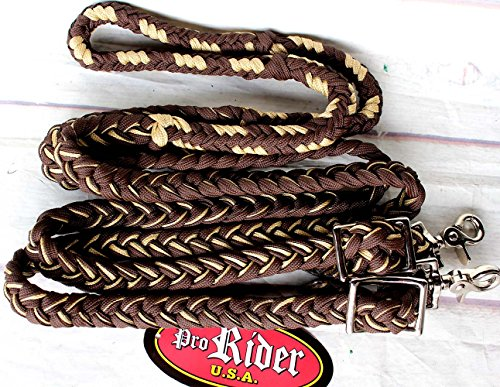Horse Roping Knotted Tack Western Barrel Reins Rein Nylon Braided Brown 607187
