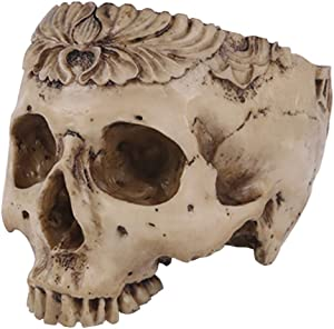 Funnuf Resin Halloween Skull Candy Bowl Flowerpot Dish Statue Sculpture Skeleton, 7.68 Inch, Floral Carved