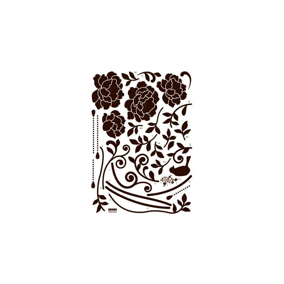 Reusable Decoration Wall Sticker Decal   Mocha Hanging Vineyard Bloom (Velvet with Rhinestones)