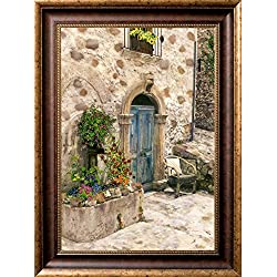 Chair at the Door, GALLERY FRAMED CANVAS 24 x 32, SIGNED, TUSCAN DECOR ART PRINT OF PAINTED BLACK & WHITE PHOTOGRAPH