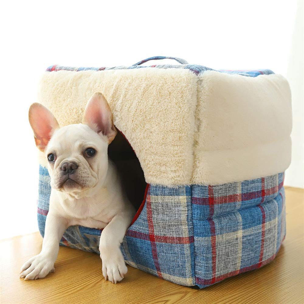 blueeS MiaoMiao Indoor Pet Dog Cat House Bed Plaid Square House Pet Nest Cushion Sofa Various Shapes Soft Warm Pet Mats,bluees