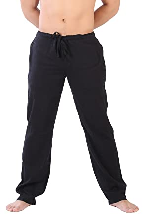 907ea65e4f CandyHusky Light Cotton Straight-Leg Drawstring Summer Lounge Casual Yoga  Pants (S, Black
