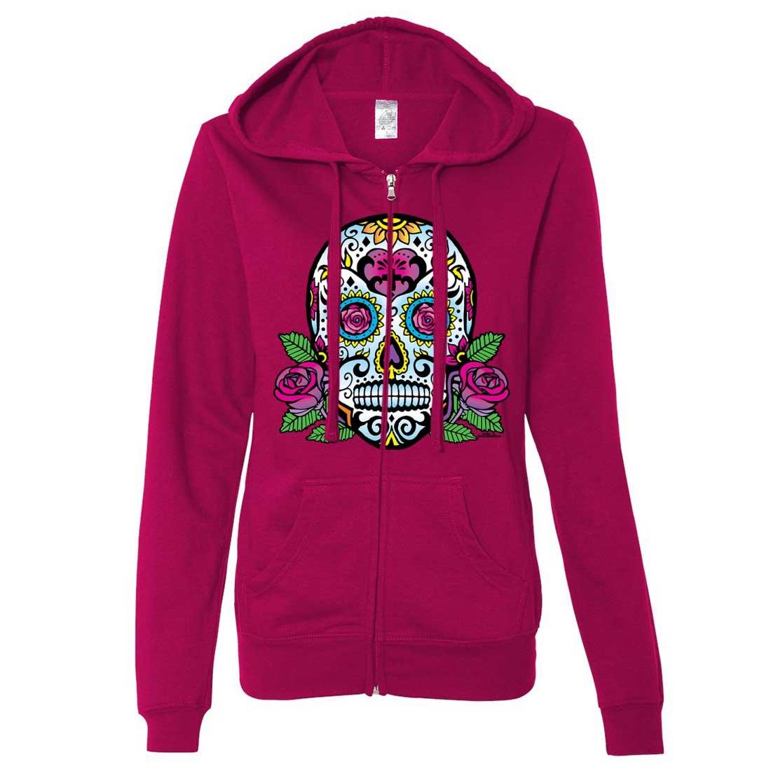 Dia De Los Muertos Sugar Skull Roses Ladies Zip-Up Hoodie