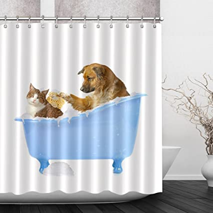 Funny Dog Cat In Bathtub Bathroom Decor Shower Curtains By LB Cute Animal Private