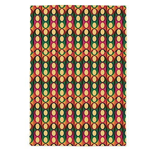 Retro Fashionable Tablecloth,Pop Art Style Oval Geometric Figures with Inner Circles Pastel Toned Vintage Pattern Decorative for Secretaire Square Table Office Table,70.1''W X 84''L