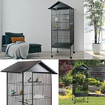 ProBache - jaula de pájaros (con tejado y 4 ruedas de metal), para ...
