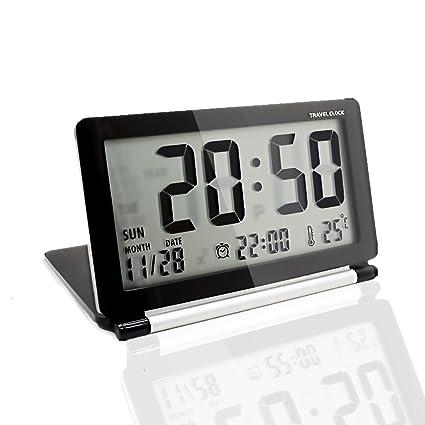 KLAREN Multifunción Silent LCD Digital Grande Protector de Viaje Escritorio Reloj Despertador electrónico