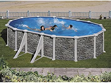 Piscina de Acero Gre ovalada Córcega 500X350x132cm: Amazon ...