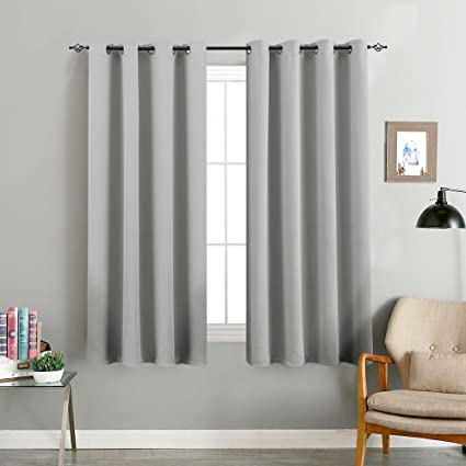 Blackout Gray Curtains for Living Room Bedroom Room Darkening Light  Blocking Triple Weave Draperies, Grommet Top, 1 Pair, 63\