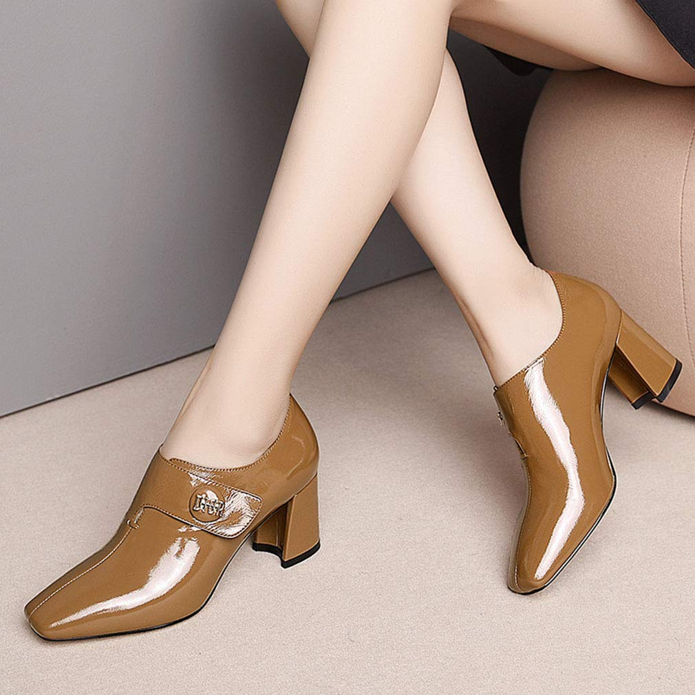 Gfphfm Damenschuhe 2019 New Thick Heel High High High Heels Damen Spring Fall Leather Simple Fashion schuhe Square Head Deep Mouth Single schuhe,B,34 952b3f