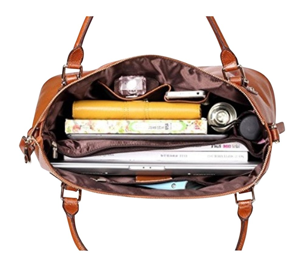 By Olivia - Women's Vintage Soft Genuine Leather Tote or Large Shoulder Bag with Outside Side Zipper Pocket by Olivia (Image #3)