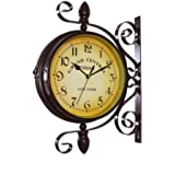Wrought Iron Vintage-inspired Rotatable Double Sided Wall Clock - Double Faced Train Station Style Round Chandelier Wall Hanging Metal Clock Home Décor Wall Clock Art Clock 360 Degree Rotation