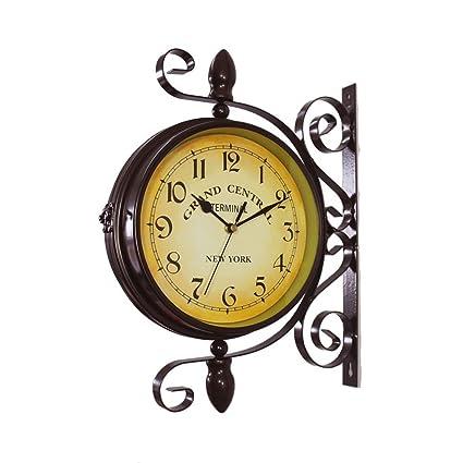 Reloj giratorio de pared de doble cara de inspiración vintage, de hierro forjado, tipo