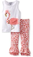 Mud Pie Girls Flamingo Top and Pant Set, Pink, 5T
