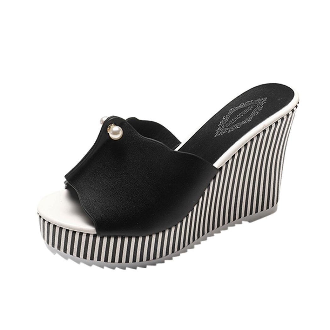 LuckyGirls Cuñ as Sandalias Mujer Plataforma Chancleta Verano Pearl Rayas Color de Hechizo Moda Có modos Casual Zapatos de 11cm Tacó n Chanclas Zapatillas de Suela Gruesa