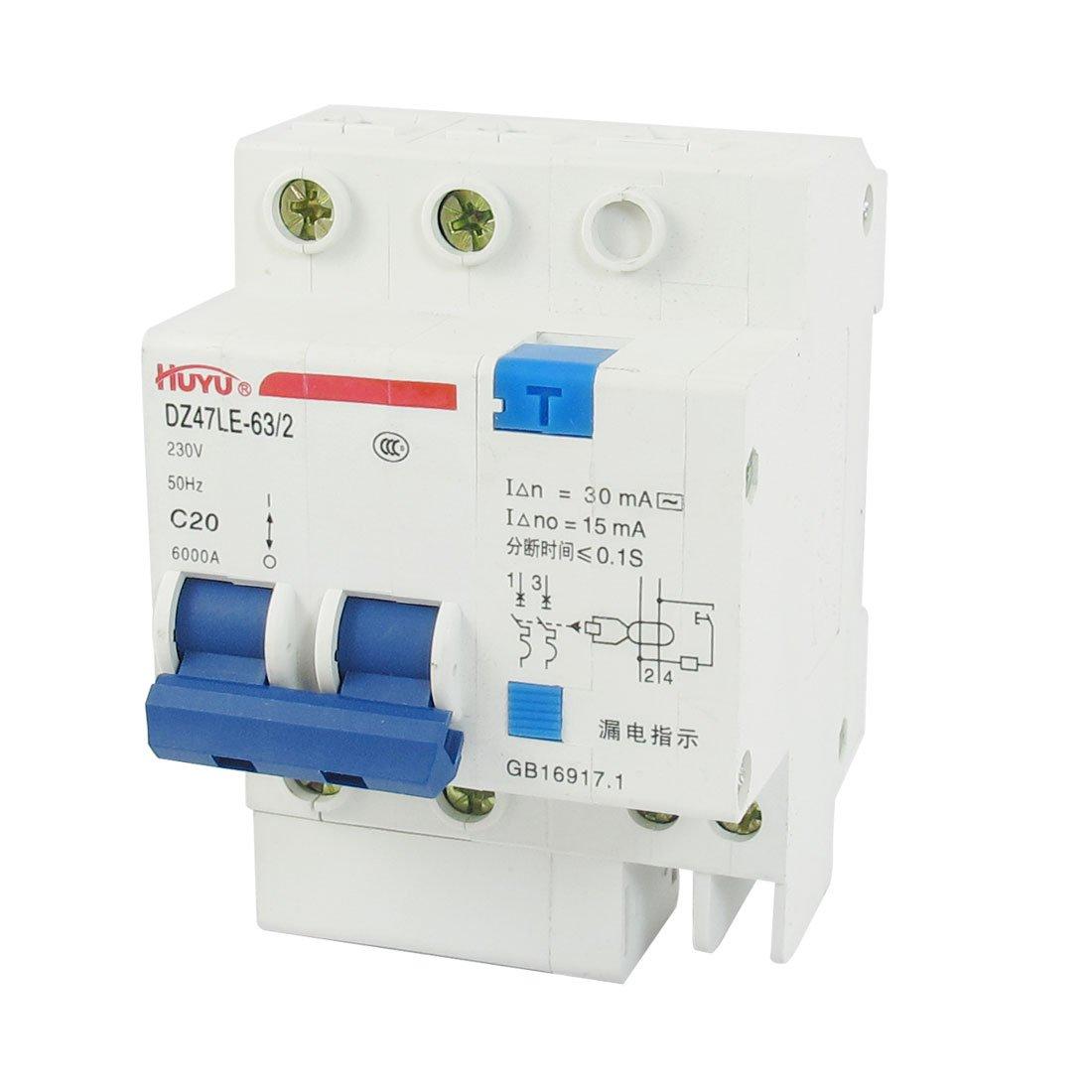 DIN Dail 2P Overload Circuit Breaker 230VAC 20A C20 DZ47LE-63