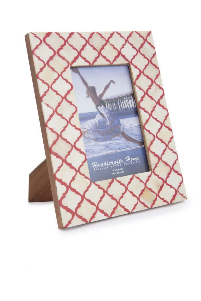 Handicrafts Home フォトフレーム ムーア風モロッコ柄 ハンドメイド ナチュラル ボーンフレーム 4x6及び5x7インチ 4x6 B01M2YFH37 4x6|ホワイト-レッド ホワイト-レッド 4x6
