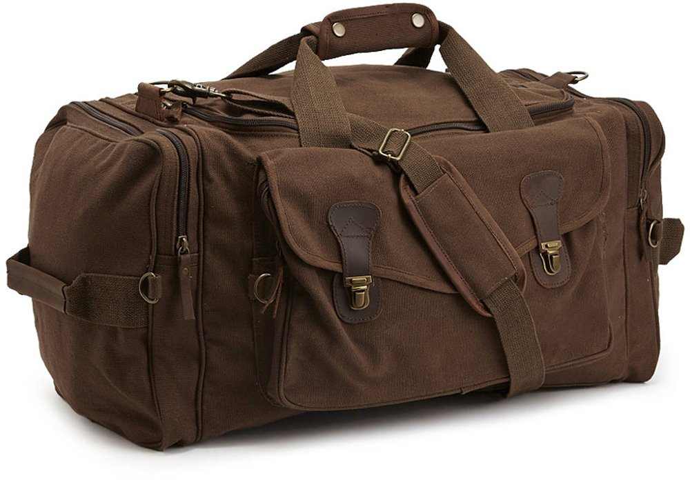 Weekender Carry Bag Travel Deluxe Shoulder Duffel with Strap - Brown Canvas & Leather by Army Universe