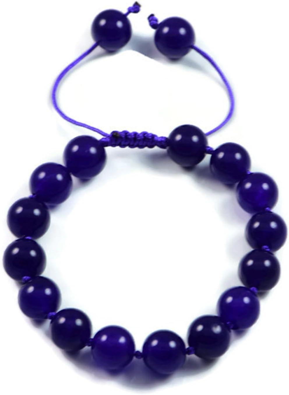 AqBeadsUk Classic Semi-Precious 10mm Redondo Piedras preciosas Dark Amatista Beads 7.8 pulgadas Cerrado 11.2 pulgadas Abierto Lujo Hand-anudado Pulsera de las mujeres