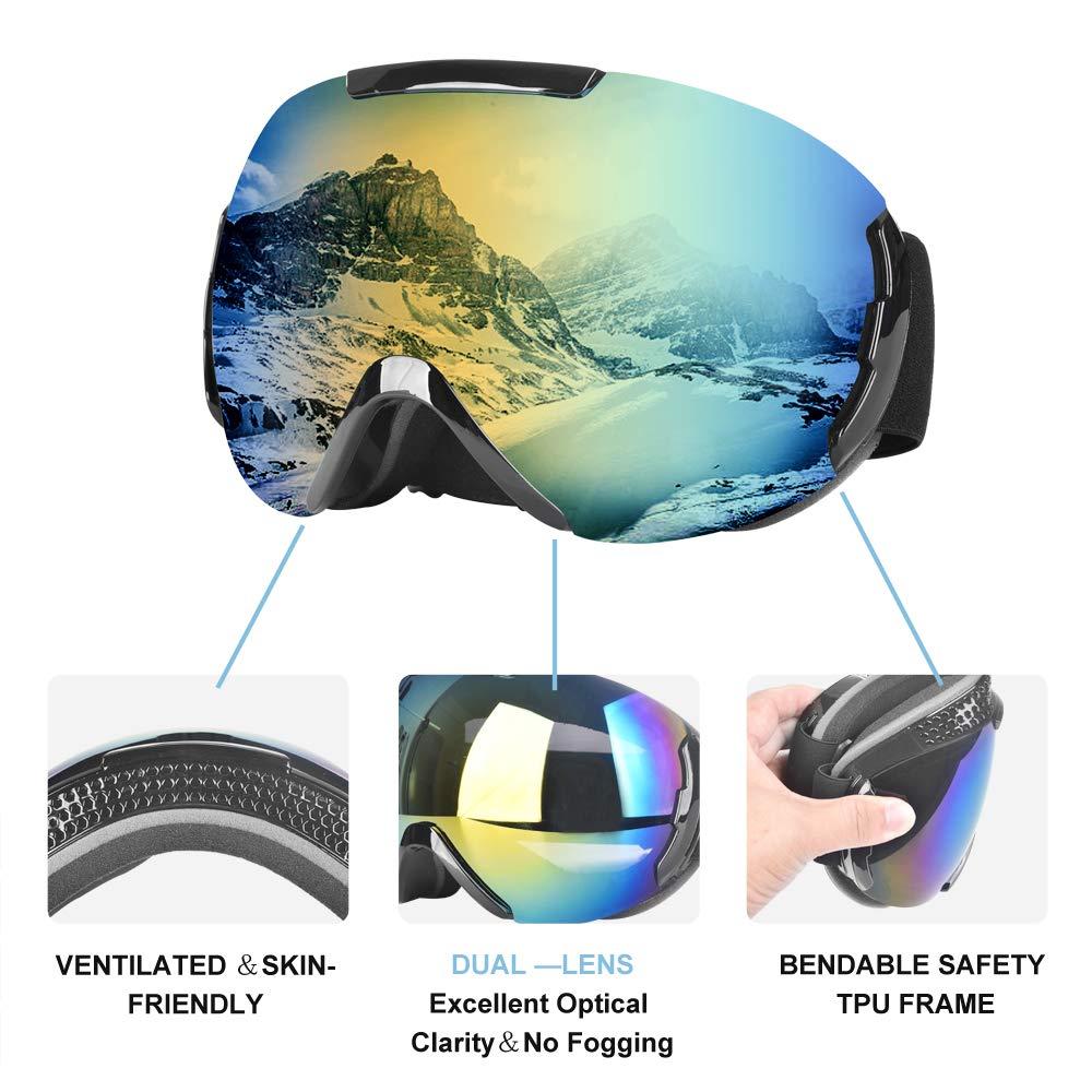 Skibrille Snowboardbrille für Damen & Herren 100% OTG UV-Schutz mit Rahmen, beschlagfreie dual Objektiv, Schneebrille für Brillenträger, helmkompatible, Outdoor Ski Schutzbrillen Blendschutz