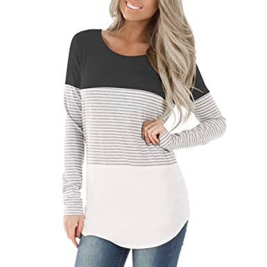 DREAMLOVER Women Tunic Srtiped Shirt Color Block Casual Long Sleeve ... 552473a595