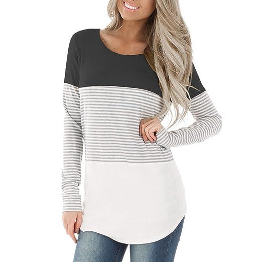 6f4bc9080b3 KUREAS Women's Casual Color Block Striped T-Shirt Round Neck Button Top
