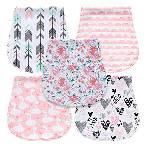 5-Pack Baby Burp Cloths for Girls, Triple Layer, 100% Organic Cotton, Soft and Absorbent Towels, Burping Rags for Newborns Baby Shower Gift Set by MiiYoung from MiiYoung