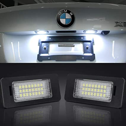 LED License Plate Lights Assembly 24-SMD Error Free LED License Number Plate Light Bulbs for BW E39 E60 E90 1 3 5 X Series Tail Lamps