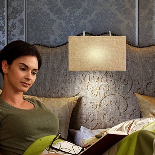 Headboard Reading Lamp, Linen Woven Shade, Sleek Modern Design, By: Ella Gancz. For headboards Up To 2.5 Inches Wide