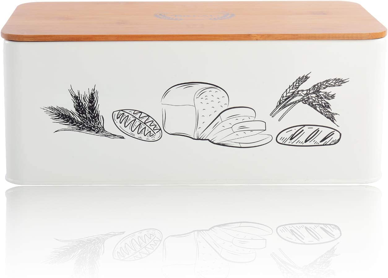 """Living-Home Bread Box for Kitchen Counter Modern Metal Bread Bin with Bamboo Lid Large Bread Bin Storage Container Counter Organizer for for All Your Bread Storage 13""""x 7.1""""x 4.7""""White"""