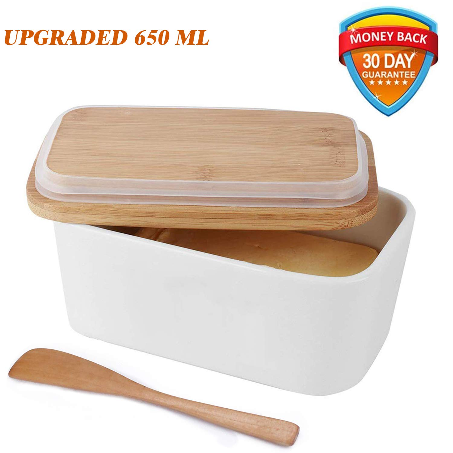 Butter Dish with Lid,Vermida Porcelain Butter Keeper with Bamboo Lid and and Knife,White Ceramic Butter Holder with Bamboo Knife,Butter Boat with Lid for both East and West Coast Butters(650ML)