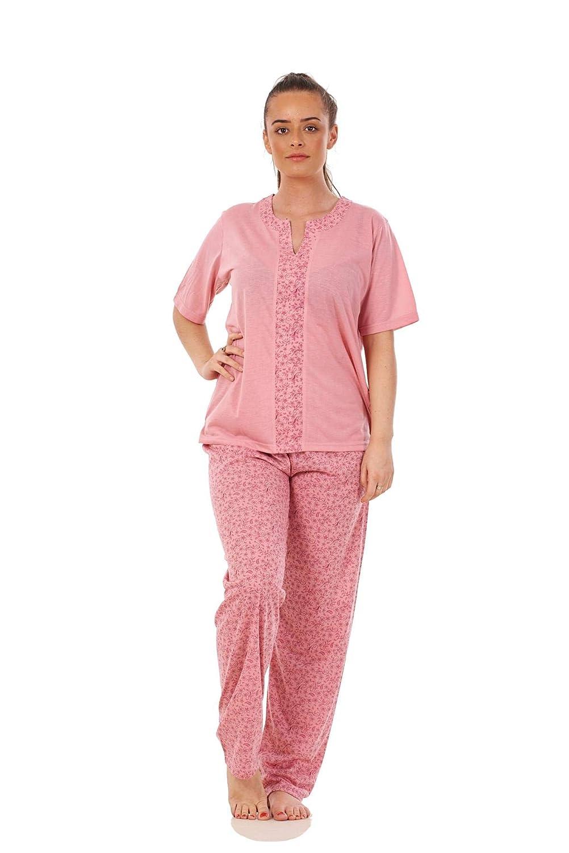 Ladies Floral Pyjama Set Cotton Blend Short Sleeve V Neck Blue Soft Nightwear XL