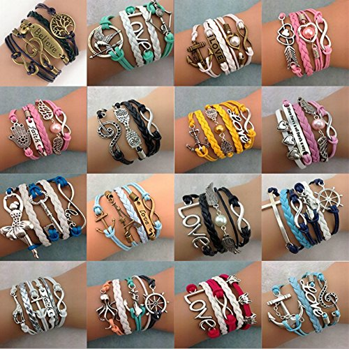 ThyWay 16pcs Handmade Braided Multi Layers Vintage Woven Rope Wrap Bangle Bracelets – Infinity Love