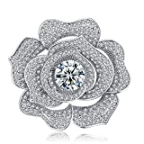 YIY Beauteous Wedding Flower Brooch Pins with Platinum Plated Copper/Brass 3A Cubic Zirconia CZ Brooches for Hat, Robe, Dress, Ashes, Bouquet, Collar, Wedding, Women, Lady, Girls.