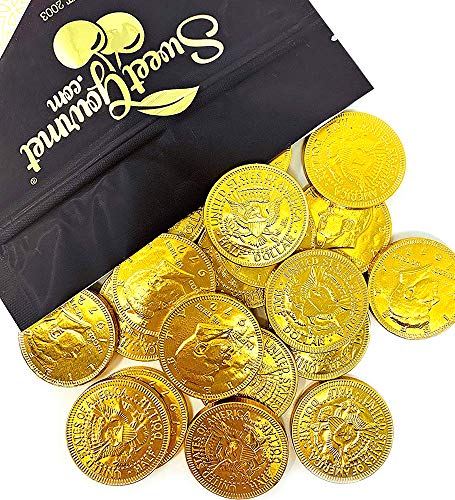SweetGourmet Milk Chocolate Gold 50c Coins | Premium Belgian Chocolate | 15 oz bag -